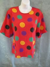 Vintage 90's Alyssa Carr Blouse Size 12 Collarless Bright Red & Polka Dot Career