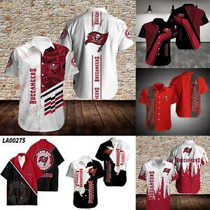 Tampa Bay Buccaneer Men Sports Shirts Causal Short Sleeve Button Collared Shirts