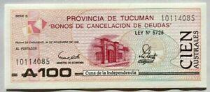 Billete Argentina-Bono TUCUMAN 100 Australes 1991 (P-S2715c) Sin circular