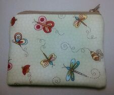 Handmade Change Coin Purse Gift Card Holder Flowers Dragonflies Bees