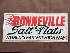 Bonneville Salt Flats Worlds Fastest Highway Embossed Tin Sign. Racing