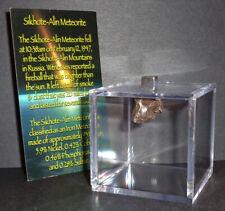 Big 3.3 gram Sikhote-Alin Meteorite with Display Cube! Real Russian Meteorite!