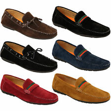 Mens Moccasins Suede Look Driving Loafers Slip On Boat Shoes Ribbon Tassle New