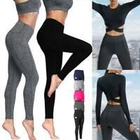Womens Push Up Yoga Pants Elastic Fitness Gym High Waist Pockets Sports Leggings