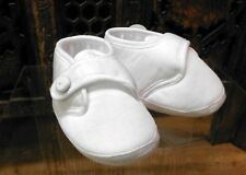 Will'beth Infant Boy's White Christening Baby Shoes Buttons 0-3m NWT
