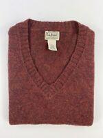 L.L. Bean Mens Large Red 100% Shetland Wool Classic Knit V-Neck Sweater Vest EUC