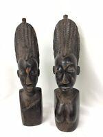 Vintage Pair Ebony or Ironwood Wood Carved African Statues Figure Man & Woman
