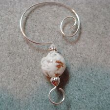 =^..^= 10 Encased White Snow Glass Bead Ornament Hangers Hooks Enhancers silver