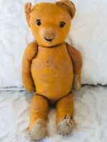 """Antique Teddy Bear With Eyebrows From Estate Collection Collectible 18 1/2"""" Tall"""