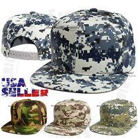 Baseball Cap Snapback Adjustable Flat Bill Camo Army Camouflage Plain Solid Hat