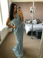 Quiz Grey Pearl gem Goddess Dress Ball Gown Long Fishtail Maxi Evening Prom UK ❤