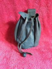 Blue leather drawstring belt bag purse LARP SCA mediaeval re-enactment Fairy A