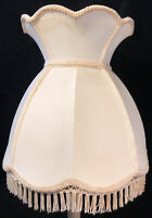 "Vintage Victorian Lamp Shade Linen Scalloped Fringe Crown Bell Shade 16.5""W 16""H"