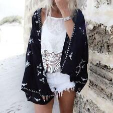 Womens Loose Floral Cardigan Shawl Kimono Boho Tops Jacket Blouse Beach Cover Up