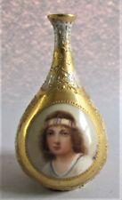 """Rare 3.5"""" ROYAL VIENNA ART NOUVEAU Hand-Painted Porcelain Vase  c. 1895  antique"""