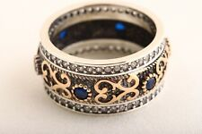 Authentic! Turkish Jewelry Sapphire  Topaz 925 Sterling Silver Ring Size 8
