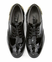 Boys Black Formal Oxford Brogue Shoes Wedding Prom Lace Up Patent Leather Shoes