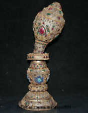 "20.4"" Old Tibet Nepal Filigree Jewel Turquoise Conch Shell Trumpet Horn Statue"