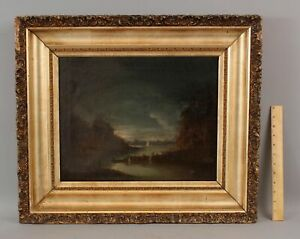 19thC Antique Tonalist Nocturnal Maritime Fishing Boats Harbor Oil Painting, NR