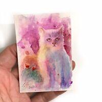 ACEO original painting Kitten Art Cat Watercolor Listed By artist Artettina USA