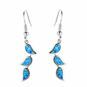 (SE 29) GORGEOUS  BLUE  FIRE OPAL  LEAF   HOOK  EARRINGS