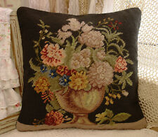 """15"""" Beautiful Flower Art Artistic Floral Antique Urn Black Needlepoint Pillow"""