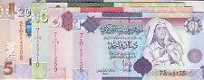 LIBYA 1 5 10 20 50 DINARS 2008 2009 P-71 72 73 74 75 SIG/7 GADDAFI UNC SET