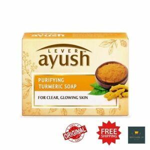 Lever Ayush Purifying Natural Herbal Fairness Soap Turmeric Saffron Glowing Skin