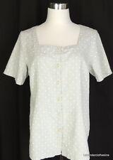 FLAX S Gray & White Linen Polka Dot Short Sleeve Blouse NEW $70.00 Fits 6 8