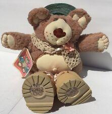 Hattie Furskin Fur-Real Bear Stuff Animal Xavier Roberts 1985 Green Hat Pink Flo