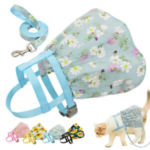 Floral Cat Harness and Leash for Walking Escape Proof Adjustable Dog Puppy Skirt