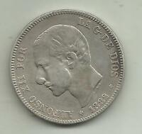 SPAIN 2 PESETAS ALFONSO XII 1882. SILVER COIN. VF CONDITION. 3RW 8JUL