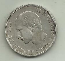 SPAIN 2 PESETAS ALFONSO XII 1882. SILVER COIN. VF CONDITION. 3RW 8JUL