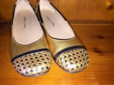 BELLINI Ballet Flats GOLD & BROWN BASKET WEAVE Loafers Shoes Womens Size 8 👠b1