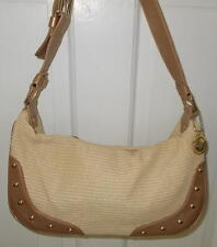 THE SAK Cream Color Straw Trimmed in Leather Hobo Handbag VGC