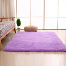 Home Shaggy Fluffy Rugs Anti Skid Area Rug Dining Room Carpet Bedroom Floor  Mat Purple