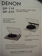 DENON DP-11F and DP-21F TURNTABLE INSTRUCTION MANUAL 20 Pages
