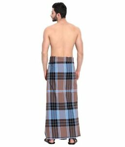 Men's LARGE Sarong Lungi Dhoti cotton Fabric 100% Cotton