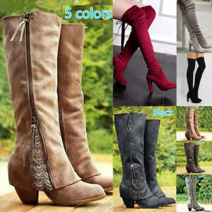 Women Winter Retro PU Leather Lace Knee High Riding Boots Mid-Heels Shoes Size