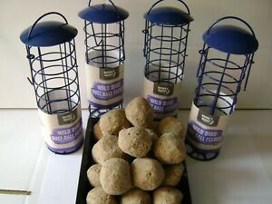 4  WILD BIRD FOOD SUET DUMPLING  FAT BALLSWITHOUT NETS PLUS FREE FEEDER