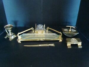 Vintage 5 Piece Brass Desk Set