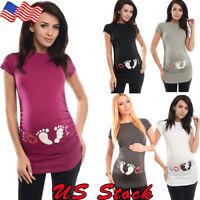 Women Pregnant Summer Maternity Footprint Print T-shirt Funny Gift Top Pregnancy