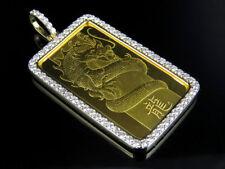 "Mens 18K Yellow Gold 1 OZ Bar Dragon Genuine Diamond Pendant Charm 2 1/2 Ct 2.1"""