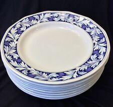 Set 8 Wedgwood England Dinner Plates Dark Blue LAUREL