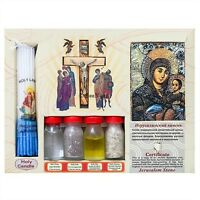 Blessing Set with Holy Water, Oil, Soil, Cross, Candle, Icon from Jesus Church