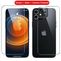 For iPhone 12 Pro Max Full Screen Protector & Back Tempered Glass & Camera Lens
