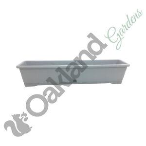 2 x 80cm Trough Planter Window Box Versilia Pot Light Grey Drip Saucer Plant