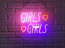 "New Girls Girls Love Hearts  Acrylic Wall Decor Artwork Neon Light Sign 14""x 12"""