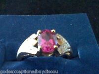 * SOLID  10k YG RARE  PINK SAPPHIRE WEDDING ENGAGEMENT RING LAST SZ 6 SIZEABLE
