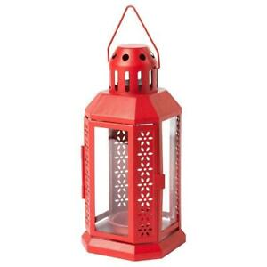 IKEA VINTER Lovely Lantern For Tealight, Indoor/Outdoor RED, 22 cm Latest Model